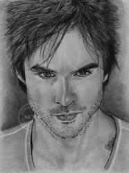 Damon Salvatore Portrait by MickeyTheSaviour