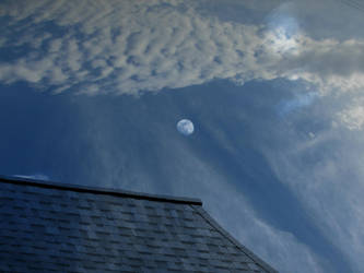 Blue Moon on a Cool Blue Roof by Anj3lla