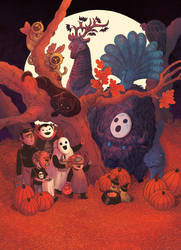 Halloween Zoo Poster by liliesformary