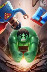 Superman vs Hulk LEGO by NOPEYS