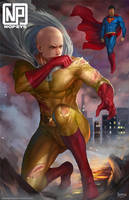 SAITAMA VS SUPERMAN by NOPEYS