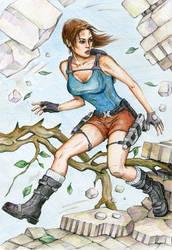 Lara runs through Jungle Temple (in color) by alineshenon