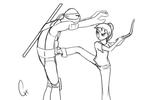 TMNT-No Touchie (Line Art) by FlashyFashionFraud