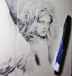 Angel drawing in progress by Artist-AbigailMarie