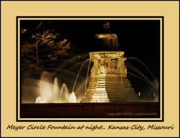 Meyer Circle Fountain at night by LadyAliceofOz