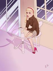Girl at Cafe by MomoiroGirl