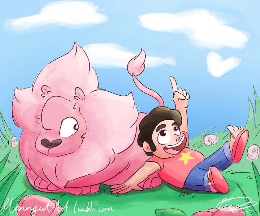 Steven and Lion. Lion is such a cutie, I hope CN make Lion plushies