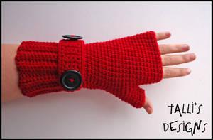 Ribbit Fingerless Gloves Red by tallis-designs