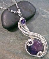 Amethyst and Swarovski Crystal Coriolis Pendant by HeatherJordanJewelry
