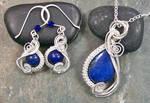 Lapis Lazuli and Silver Swish Pendant/Earring Set by HeatherJordanJewelry