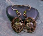 Dragon Blood Jasper Bronze Woven Circle Earrings by HeatherJordanJewelry
