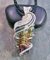 Bismuth Crystal Pendant in Silver- Rainbow Wave by HeatherJordanJewelry