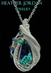 Morenci Azurite Malachite and Sterling Silver Wire by HeatherJordanJewelry