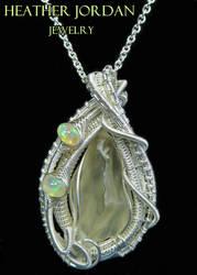 Libyan Desert Glass Pendant in Sterling Silver w O by HeatherJordanJewelry