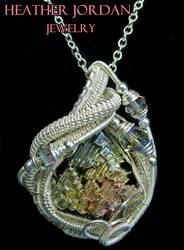 Wire-Wrapped Bismuth Crystal and Sterling Silver P by HeatherJordanJewelry