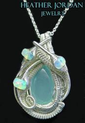Aqua Chalcedony Wire-Wrapped Pendant in Sterling S by HeatherJordanJewelry