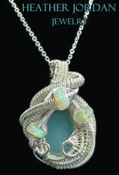Aqua Chalcedony Wire-Wrapped Pendant in Tarnish-Re by HeatherJordanJewelry