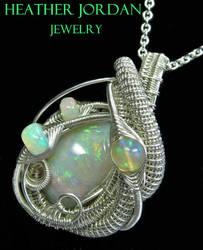 Wire-Wrapped Australian Opal Pendant Necklace in S by HeatherJordanJewelry