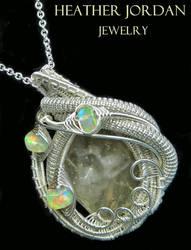 Libyan Desert Glass and Opal Pendant in Sterling S by HeatherJordanJewelry
