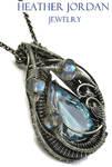 Blue Topaz Necklace in Sterl S w Rainbow Moonstone by HeatherJordanJewelry