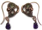 Steampunk Heart and Amethyst Earrings 5 Metals by HeatherJordanJewelry