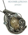 Petoskey Stone and Aquamarine Pendant in Sterling by HeatherJordanJewelry