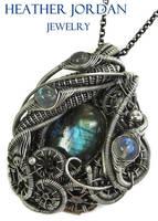 Labradorite Steampunk Pendant in Sterling Silver by HeatherJordanJewelry