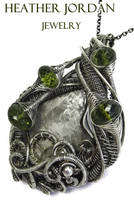 Meteorite Steampunk Pendant with Peridot in SS by HeatherJordanJewelry