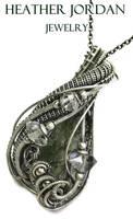 Wire-Wrapped Besednice Moldavite Pendant in SS by HeatherJordanJewelry