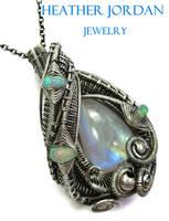 Rainbow Moonstone n Ethiopian Welo Opal Necklace by HeatherJordanJewelry