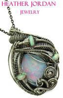 Australian and Ethiopian Opal Pendant in Sterling by HeatherJordanJewelry