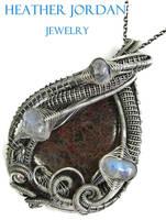 Dinosaur Bone n Rainbow Moonstone Pendant in Sterl by HeatherJordanJewelry