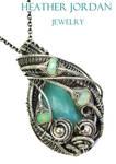 Peruvian Blue an Ethiopian Welo Opal Pendant in SS by HeatherJordanJewelry