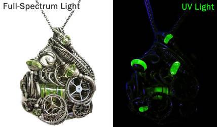 Steampunk Wire-Wrapped Spirit Level Pendant in SS by HeatherJordanJewelry