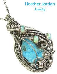 Blue Hemimorphite Druzy Pendant Wire-Wrapped in SS by HeatherJordanJewelry