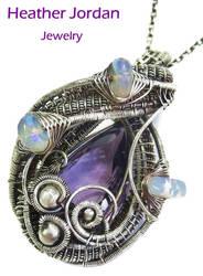 Amethyst n Opal Wire-Wrapped SS Pendant by HeatherJordanJewelry
