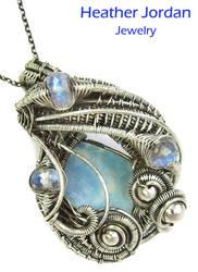 Australian Opal and Rainbow Moonstone Pendant by HeatherJordanJewelry