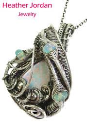 Australian Opal and Ethiopian Opal Wire-Wrapped Pe by HeatherJordanJewelry