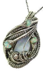 Australian and Ethiopian Opal Pendant in SS by HeatherJordanJewelry