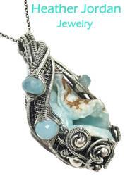 Hemimorphite Druzy n Aqua Chalcedony Pendant in SS by HeatherJordanJewelry