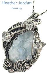 Celestite Druzy and Herkimer Diamond Pendant in SS by HeatherJordanJewelry