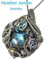Steampunk Labradorite Pendant in Sterling S w Swar by HeatherJordanJewelry
