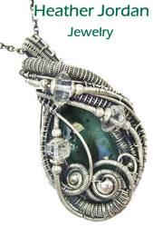 Emerald n Herkimer Diamond Wire-Wrapped Pendant by HeatherJordanJewelry