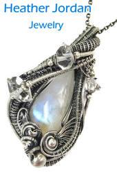 Rainbow Moonstone n Herkimer Diamond Pendant in SS by HeatherJordanJewelry