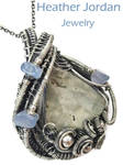Worm Fossil n Holly Blue Agate Pendant in SS by HeatherJordanJewelry