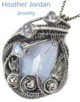 Blue Lace Agate n Rainbow Moonstone Pendant in SS by HeatherJordanJewelry