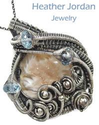Agate Druzy n Blue Topaz Pendant in Sterling Silvr by HeatherJordanJewelry