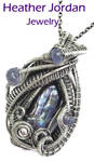 Biwa Freshwater Stick Pearl n Tanzanite Pendant by HeatherJordanJewelry