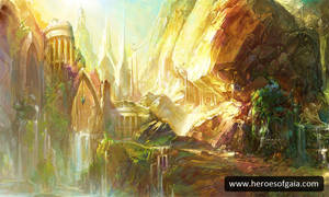 fantasy land Gaia mountains by dingding83