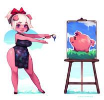 Emelie's Piggu Painting by CyanCapsule